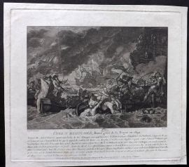 After Benjamin West C1800 Naval Print. Combat Memorable, La Hougue 1692